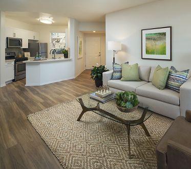Interior view of a living room at Vista Bella Apartment Homes in Aliso Viejo, CA.