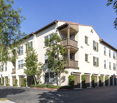 Exterior view of The Enclave Apartment Homes in Costa Mesa, CA.