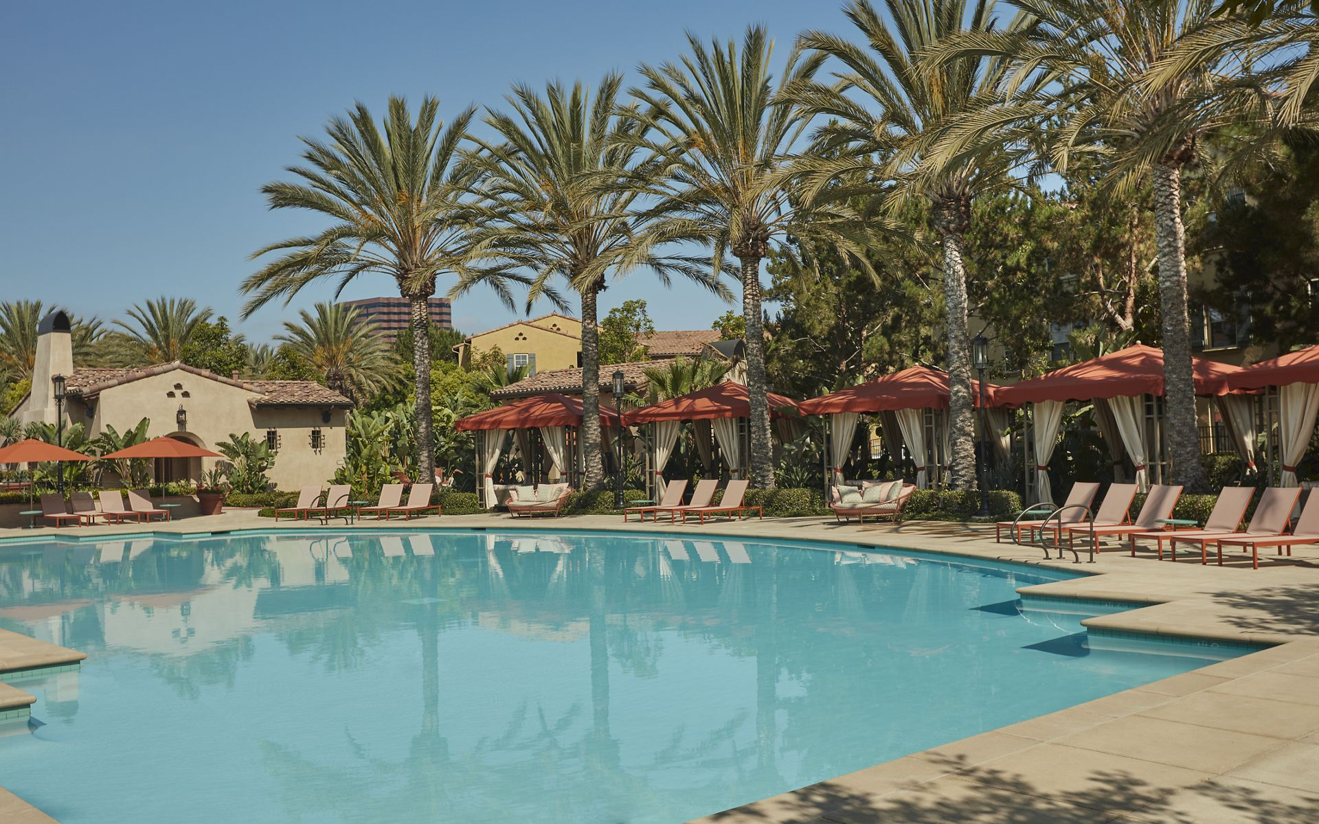Pool view at The Enclave at South Coast Apartment Homes in Costa Mesa, CA.