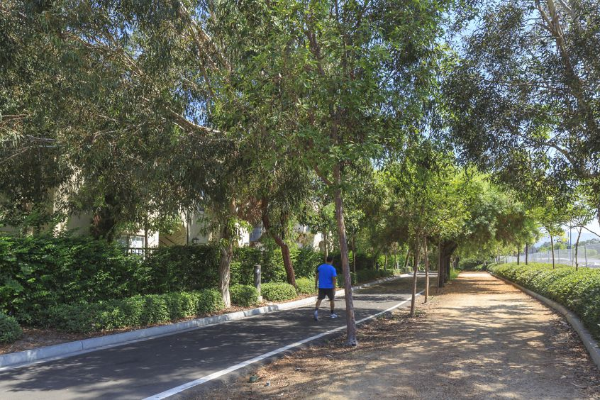 Exterior view of a trail at Anacapa Apartment Homes in Irvine, CA.