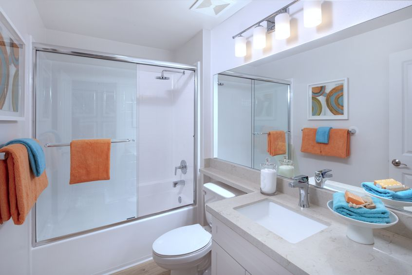 Interior view of bathroom at Anacapa Apartment Homes in Irvine, CA.