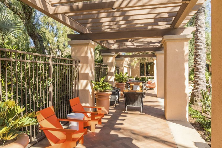 Exterior view of patio at Anacapa Apartment Homes in Irvine, CA.