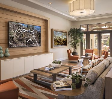 Interior view of clubhouse at Avella Apartment Homes in Irvine, CA.