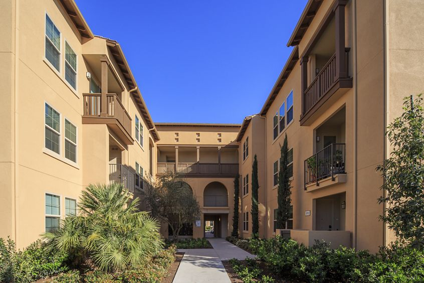 Exterior view of Avella Apartment Homes in Irvine, CA.