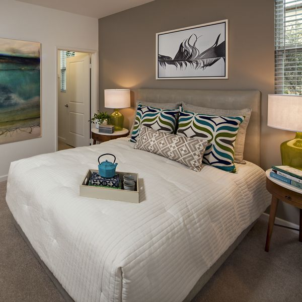 Interior view bedroom at of Avella Apartment Homes in Irvine, CA.