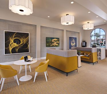 Interior view of ilounge at Avella Apartment Homes in Irvine, CA.