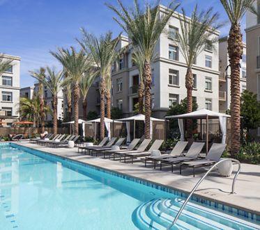 Exterior view of pool at Centerpointe at Irvine Spectrum Apartment Homes in Irvine, CA.