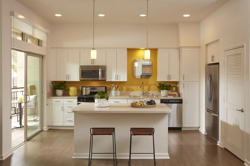 Interior view of kitchen at Centerpointe at Irvine Spectrum Apartment Homes in Irvine, CA.