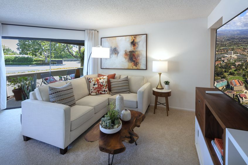Interior view of living room at Cross Creek Apartment Homes in Irvine, CA.