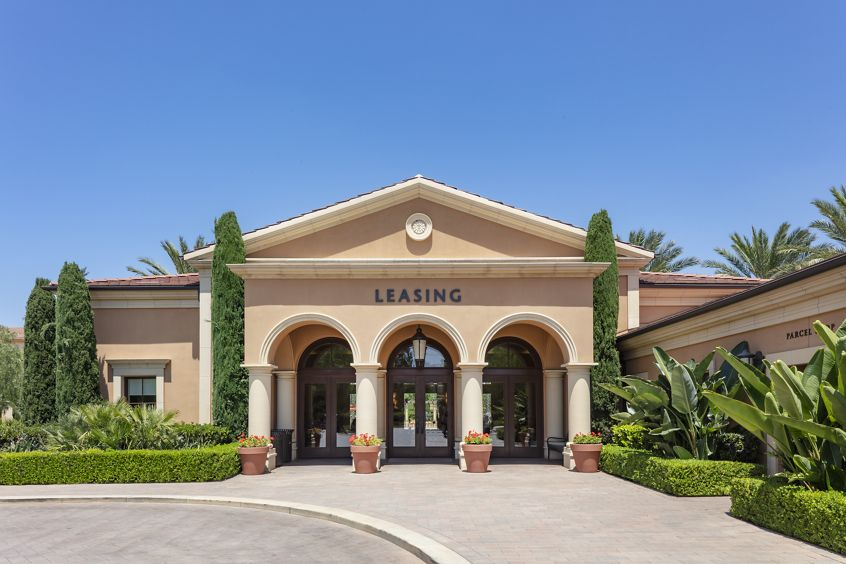 Exterior view of leasing center at Murano Apartment Homes at Cypress Village in Irvine, CA.