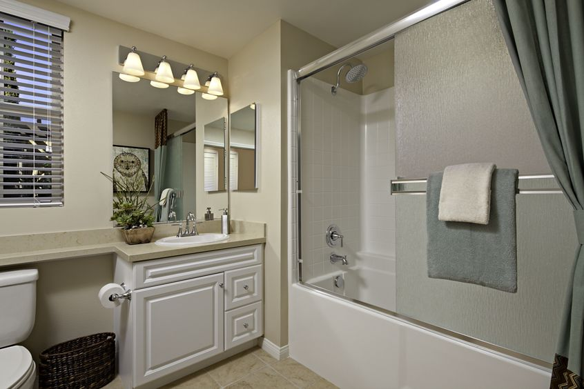 Interior view of the bathroom at Veneto Apartment Homes at Cypress Village in Irvine, CA.
