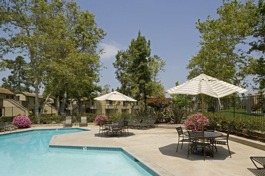 Pool view at Deerfield Apartment Homes in Irvine, CA.