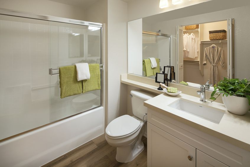 Interior view of bathroom at Las Palmas Apartment Homes in Irvine, CA.