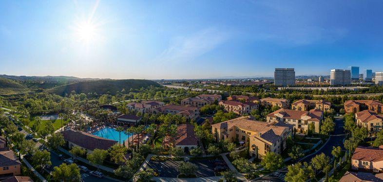 Exterior aerial panorama view of trailside at Los Olivos at Irvine Spectrum Apartment Homes in Irvine, CA.