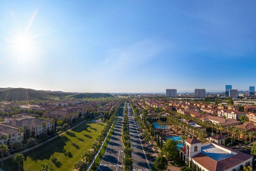 Exterior aerial panorama view at Los Olivos at Irvine Spectrum Apartment Homes in Irvine, CA.