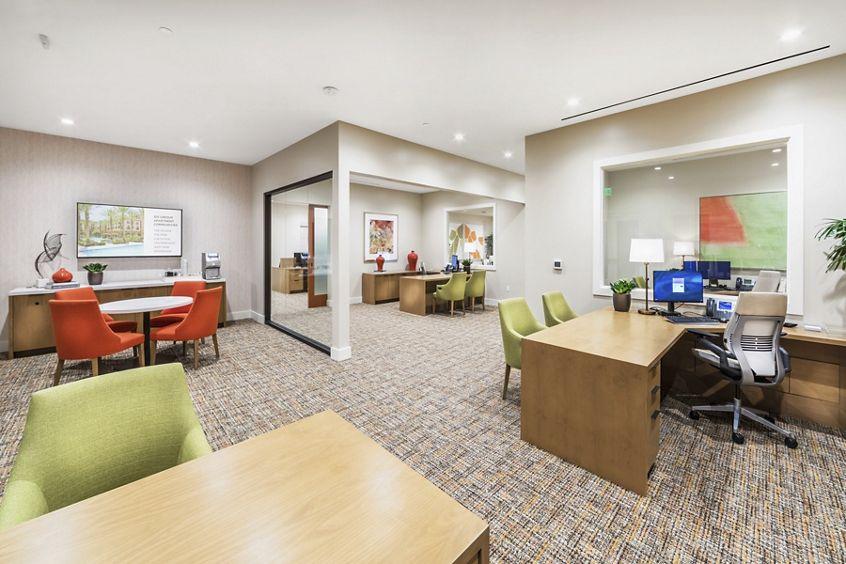 Interior view of leasing center at Los Olivos Apartment Homes at Irvine Spectrum in Irvine, CA.