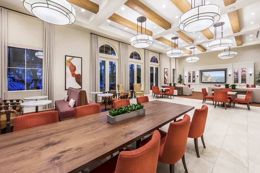 Interior view of Clubhouse at Los Olivos Apartment Homes at Irvine Spectrum in Irvine, CA.
