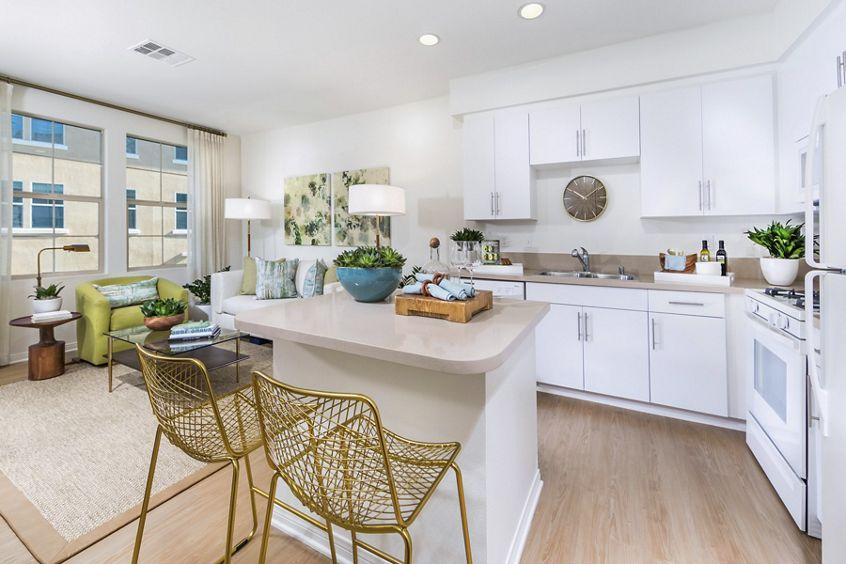 Interior view of kitchen at Los Olivos Apartment Homes at Irvine Spectrum in Irvine, CA.Interior view of kitchen at Los Olivos Apartment Homes at Irvine Spectrum in Irvine, CA.