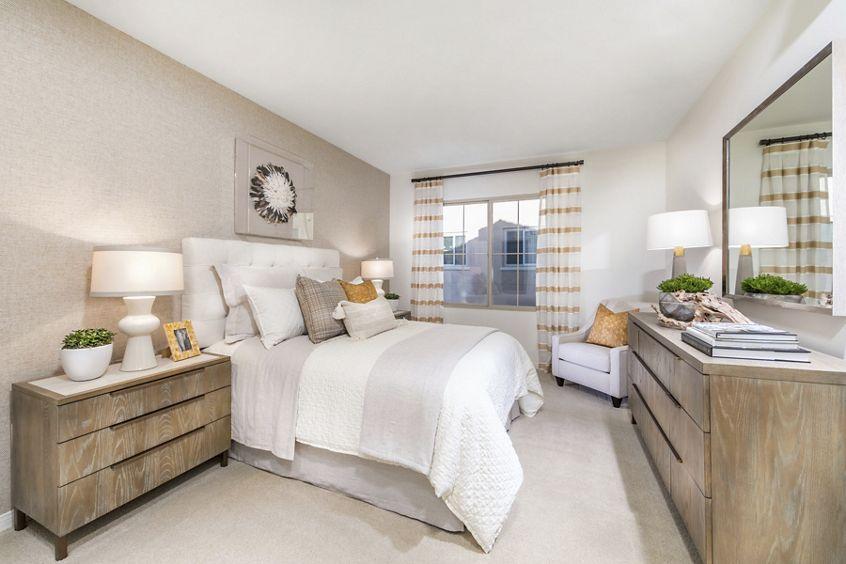 Interior view of bedroom at Los Olivos Apartment Homes at Irvine Spectrum in Irvine, CA.