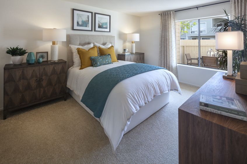 Interior view of bedroom at Northwood Park Apartment Homes in Irvine, CA.