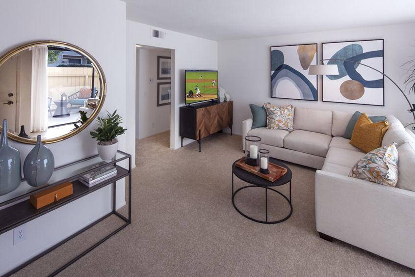 Interior view of living room at Northwood Park Apartment Homes in Irvine, CA.