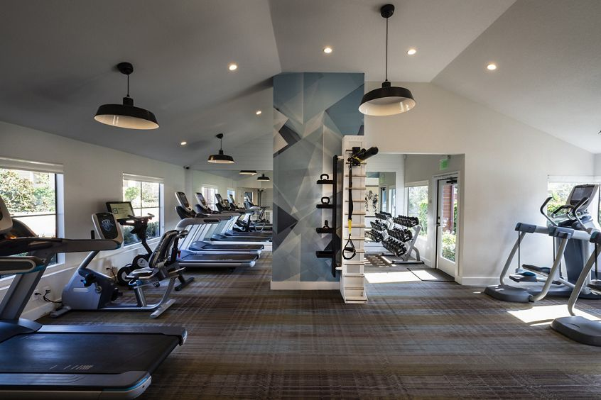Interior view of fitness center at Northwood Park Apartment Homes in Irvine, CA.