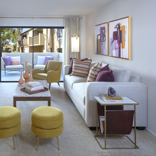 Interior view of living room at Northwood Place Apartment Homes in Irvine, CA.