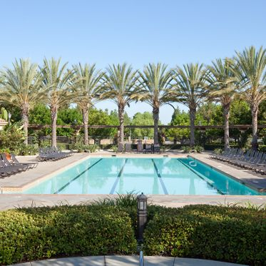 Exterior view of pool at Oak Glen Apartment Homes in Irvine, CA.