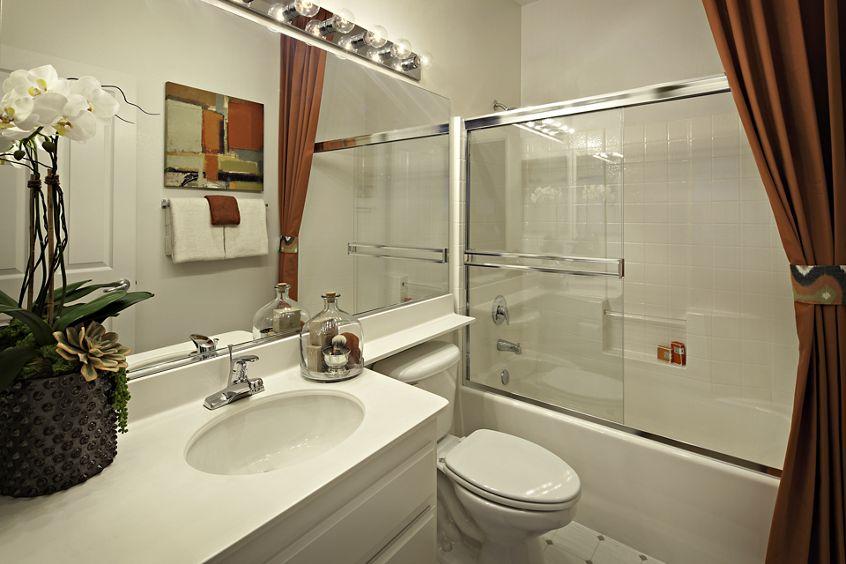 Interior view of bathroom at Oak Glen Apartment Homes in Irvine, CA.