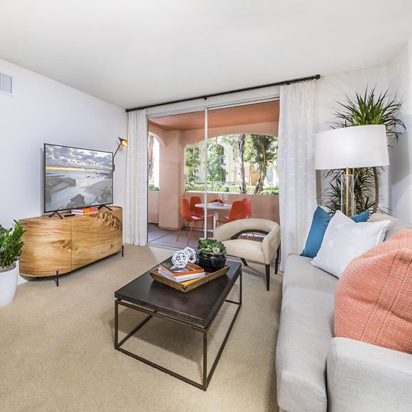 Interior view of living room at Oak Glen Apartment Homes in Irvine, CA.