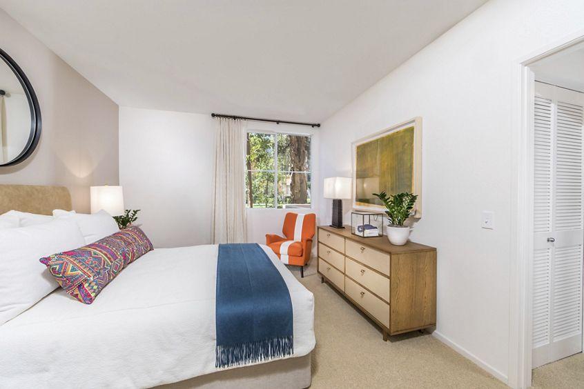 Interior view of bedroom at Oak Glen Apartment Homes in Irvine, CA.