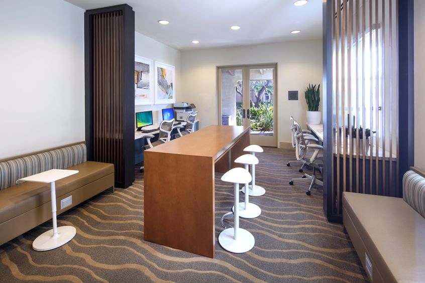 Interior view of business center at Orchard Hills Apartment Homes in Irvine, CA.
