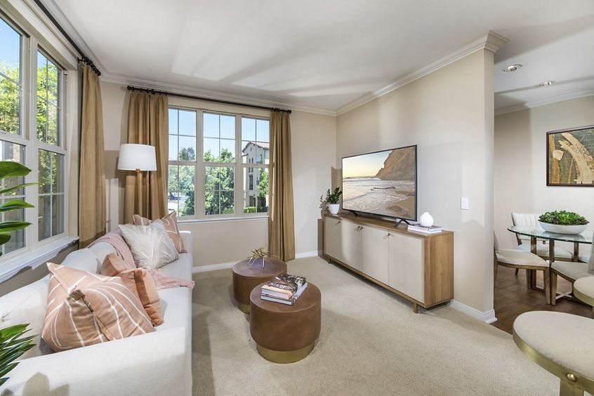 Interior view of living room at Orchard Hills Apartment Homes in Irvine, CA.