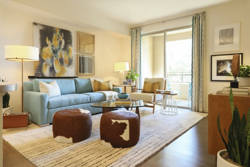 Interior view of living room at Park Place Apartment Homes in Irvine, CA.