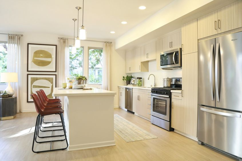 Interior view of kitchen at Park Place Apartment Homes in Irvine, CA.