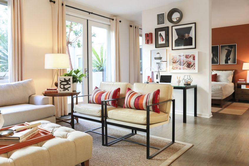 Interior view of living room at at Park Place Apartment Homes in Irvine, CA.