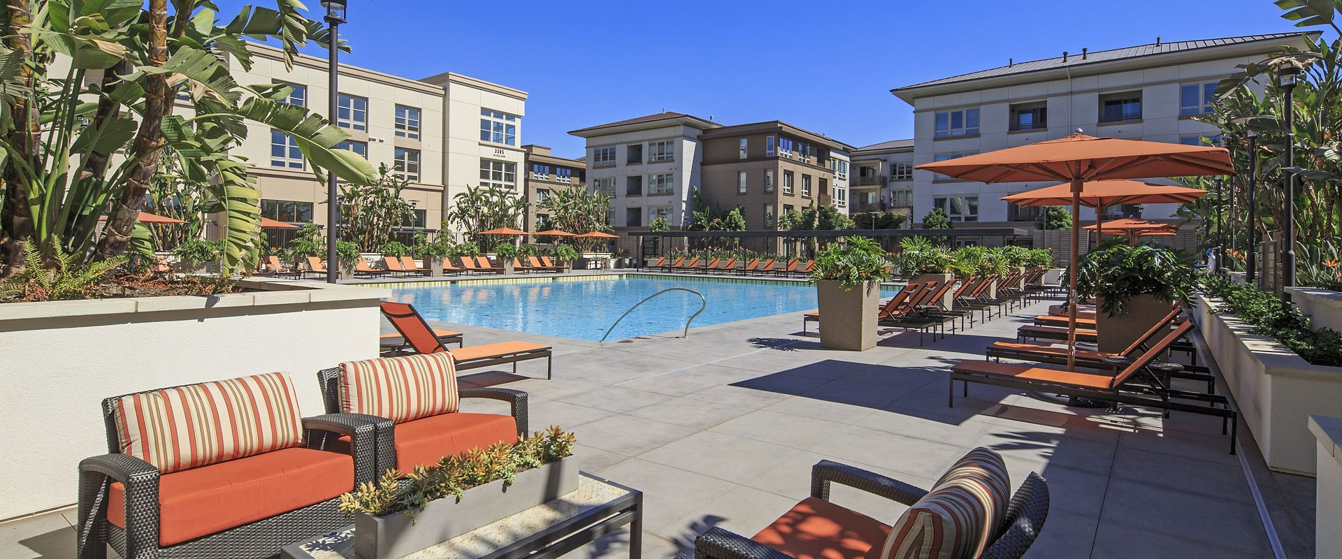 Exterior view of courtyard details at Park Place Apartment Homes in Irvine, CA.
