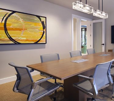 Interior view of office center meeting room at Park Place Apartment Homes in Irvine, CA.