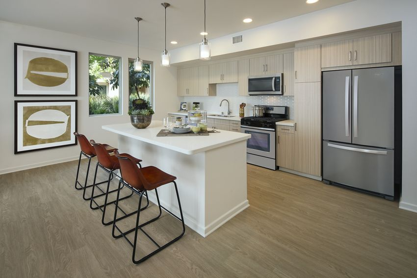 Interior view of kitchen area at Park Place Apartment Homes in Irvine, CA.