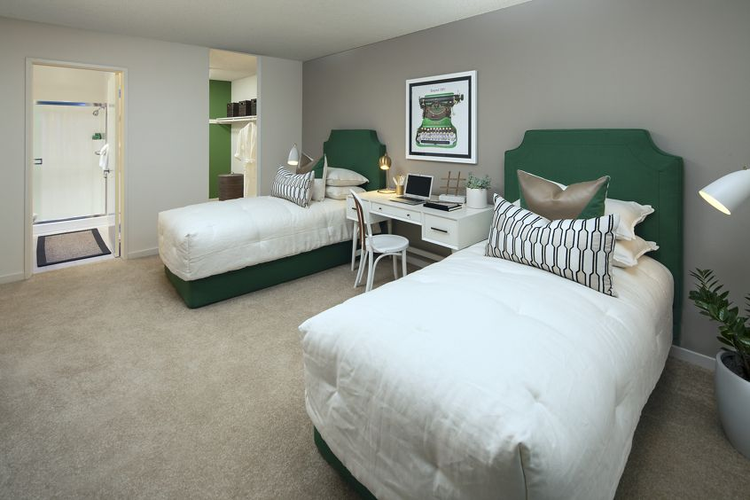 Interior view of bedroom at Park West Apartment Homes in Irvine, CA.
