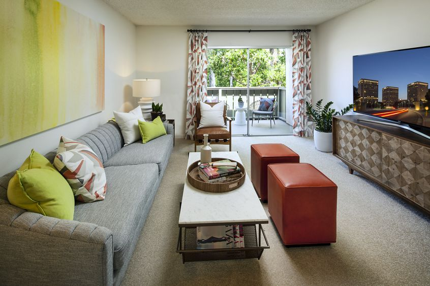 Interior view of living room at Park West Apartment Homes in Irvine, CA.
