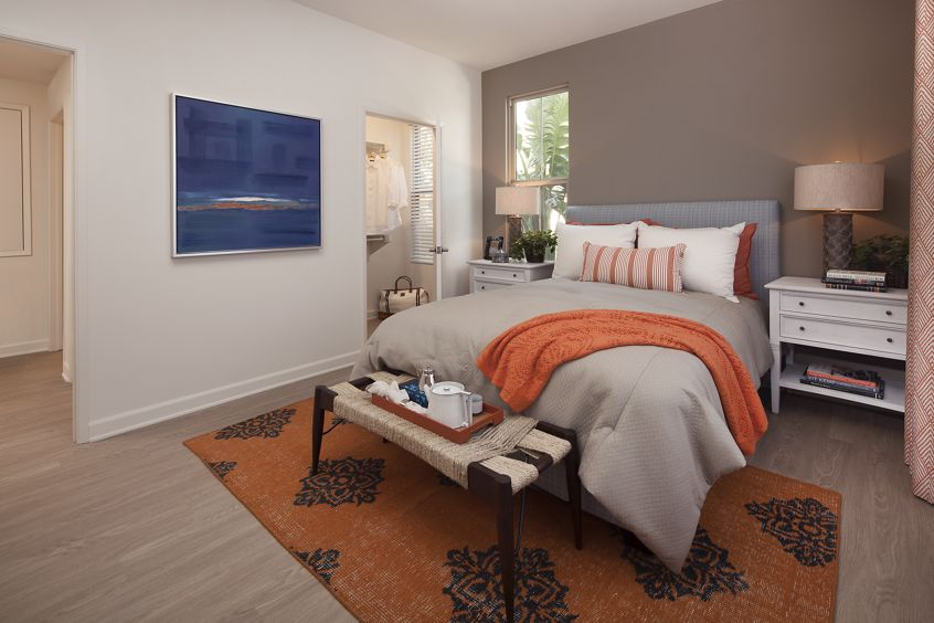 Interior view of bedroom at Portola Court Apartment Homes in Irvine, CA.
