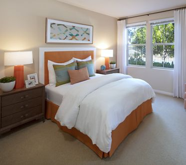 Interior view of bedroom at Portola Place Apartment Homes in Irvine, CA.