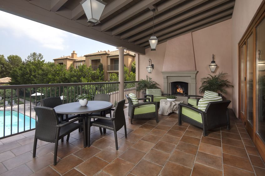 Exterior view of Clubhouse Terrace at Portola Place Apartment Homes in Irvine., CA.