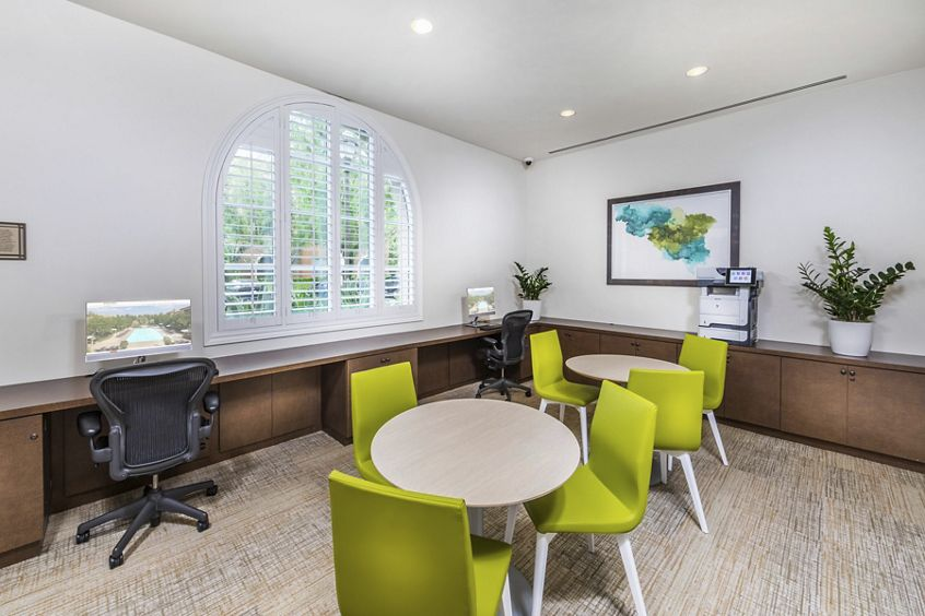 Interior view of Business Center at Portola Place Apartment Homes in Irvine, CA.