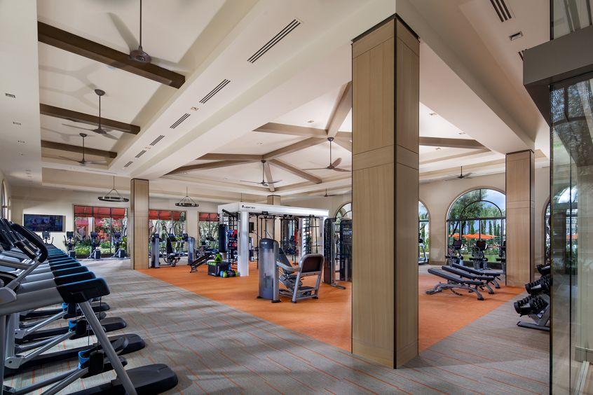 Interior view of fitness center at Promenade Apartment Homes in Irvine, CA.