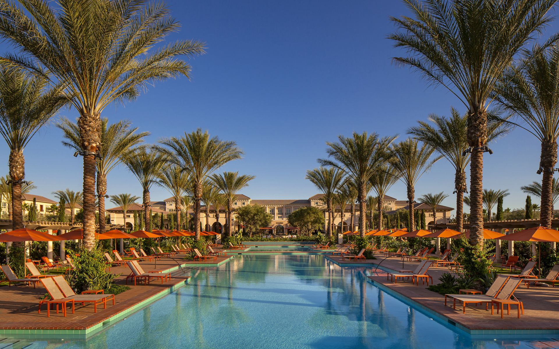 Pool view at Promenade Apartment Homes in Irvine, CA.