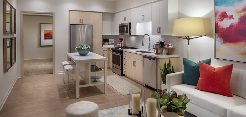 Interior view of kitchen at Promenade Apartment Homes in Irvine, CA.