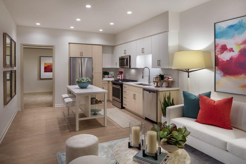 Interior view of kitchen at Promenade Apartment Homes in Irvine, CA.