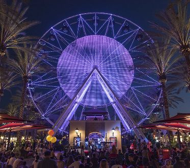 Night view of Giant Wheel at Irvine Spectrum Center in Irvine, CA.